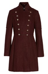 Guess Women's Double Breasted Fit And Flare Coat Wine