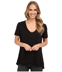 The Beginning Of Olivia V Neck High Low Tee Black Women's Short Sleeve Pullover