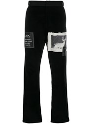 Palm Angels Patch Embellished Straight Trousers Black