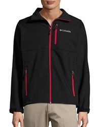 Columbia Fleece Lined Water Resistant Zip Up Jacket Black Red