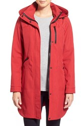 Kristen Blake Petite Women's Crossdye Hooded Soft Shell Jacket Regular And Petite Red