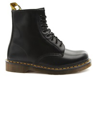 Dr. Martens Low Rise Black Leather Boots With Yellow Stiching 1460