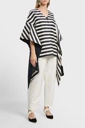 Delpozo Striped Bow Sleeve Coat Stripes