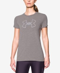 Under Armour Big Logo Training Tee Carbon Heather Lavender Ice
