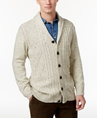 Tricots St Raphael St. Men's Cable Knit Shawl Collar Cardigan Natural Heather