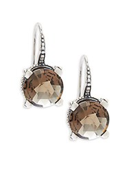 Stephen Dweck Round Faceted Smoky Quartz Earrings Silver