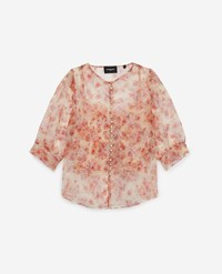 The Kooples Fitted Floral Printed See Through Top