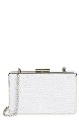 Sondra Roberts Sequin Box Clutch White