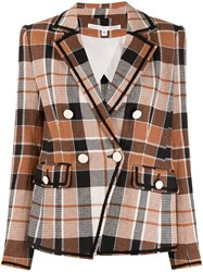 Veronica Beard Check Double Breasted Blazer Brown