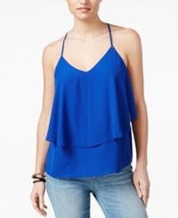 Guess Brit Ruffle Tank Top High Def Blue