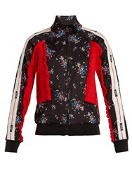 Msgm Floral Print Contrast Panel Track Top Black