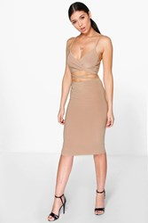 Boohoo Slinky Wrap Bralet And Midi Skirt Co Ord Set Camel