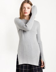 Pixie Market Grey Skinny Ribbed Long Sleeve Top