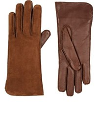 Barneys New York Women's Suede Gloves Brown
