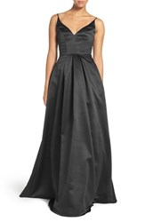 Hayley Paige Occasions Women's Sweetheart Neck Satin A Line Gown Black