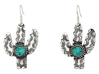 Mandf Western Cactus Turquoise Stone Earrings Silver Earring
