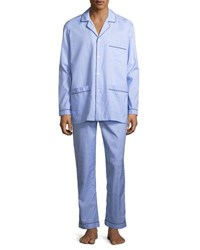 Neiman Marcus Woven Pajama Set With Piping Blue