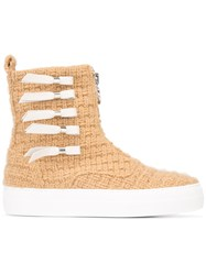 Joshua Sanders Knitted Zip Boots Nude And Neutrals