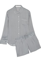 Dkny Striped Satin Pajama Set Gray