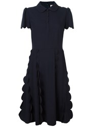 Red Valentino Scalloped Detail Dress Blue