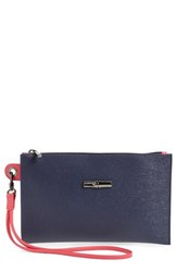 Longchamp 'Roseau' Reversible Leather Clutch Blue Navy Pink