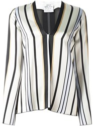 Forte Forte Striped V Neck Blouse Nude And Neutrals