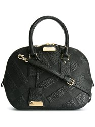 Burberry Embossed Check Bowling Bag Black