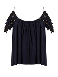 Alex Gore Browne Trapeze Wool And Cashmere Blend Top Navy
