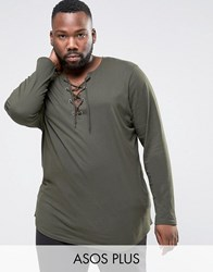 Asos Plus Longline Long Sleeve T Shirt With Lace Up Neck Forest Nights Green