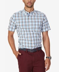 Nautica Men's Oyster Plaid Short Sleeve Shirt Artsan Blue