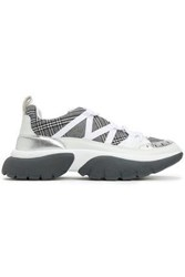 Maje Woman Textured Leather And Prince Of Wales Checked Woven Sneakers White