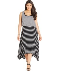 Styleandco. Style And Co. Plus Size Striped Layered Look Maxi Dress Black White