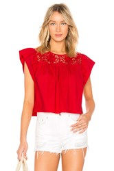 Endless Rose Cropped Baby Doll Blouse Red