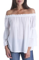 Kut From The Kloth Kaylan Off Shoulder Ruffle Sleeve Top White Silver