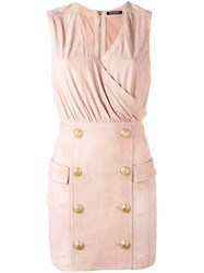 Balmain Button Embellished Cocktail Dress Women Cotton Lamb Skin Viscose 38 Pink Purple