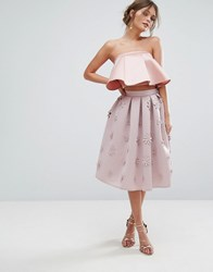 Chi Chi London Scuba Midi Skirt In 3D Floral Dusky Rose Pink