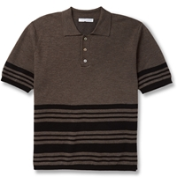 J.W.Anderson Striped Merino Wool Blend Polo Shirt Brown