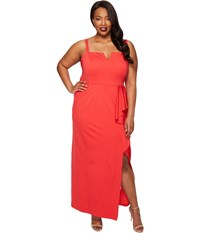 Adrianna Papell Plus Size Strapless Jersey Front Cascade Gown Hot Tomato Women's Dress Red