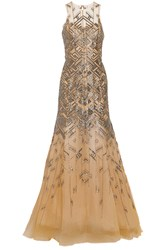 Lela Rose Beaded Tulle Gown Nude