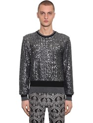Dolce And Gabbana Embellished Techno Knit Sweater Grey