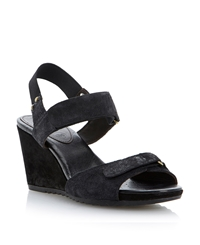 Alias Suede Round Toe Wedge Sandals Black Suede