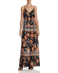 Aqua Floral Print Tie Back Maxi Dress 100 Exclusive Black