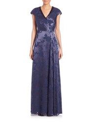 Kay Unger Beaded Neck Floral Gown Navy Black