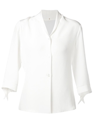 Peter Cohen Three Quarter Length Sleeve Blazer White