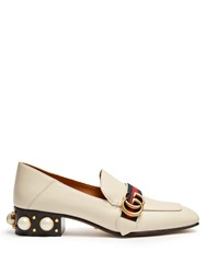 Gucci Peyton Faux Pearl Heel Leather Pumps White