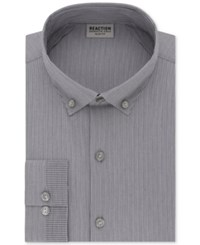 Kenneth Cole Reaction Men's Technicole Slim Fit Stretch Broadcloth Dress Shirt Smoky Grey