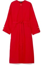 Mother Of Pearl Faux Embellished Cotton Poplin Dress Red Gbp