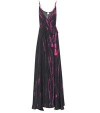 Anna Kosturova Tie Dye Silk Maxi Dress Black