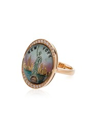 Francesca Villa Yellow Gold Liberty Diamond Embellished Ring