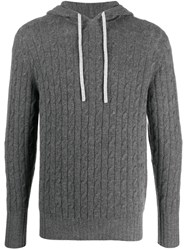 N.Peal Cable Knit Pullover Hoodie Grey